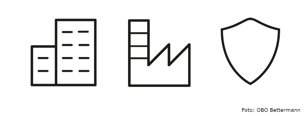 Icons Industrieinstallationen, Gebäudeinstallationen und Schutzinstallationen