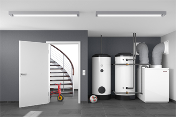Anwendungsbild einer Wärmepumpe im Keller
