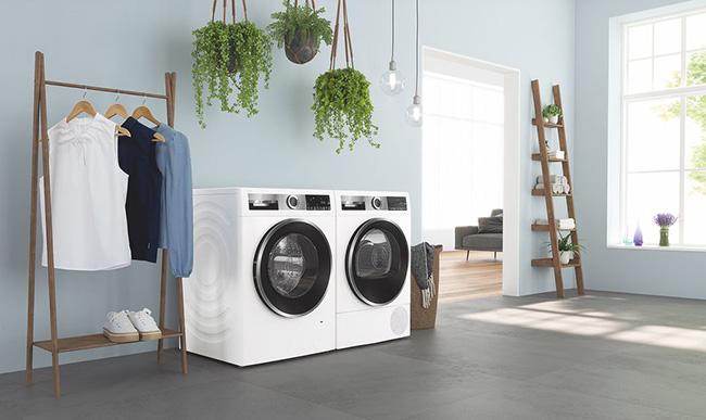 Sparsame Waschmaschinen und Wäschetrockner von Bosch.