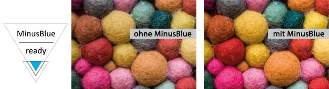 Der Vergleich zeigt: Wird das Produkt mit der Technologie MinusBlue beleuchtet, kommen dessen Farbton, die Struktur und die Oberfläche perfekt und kraftvoll zur Geltung.