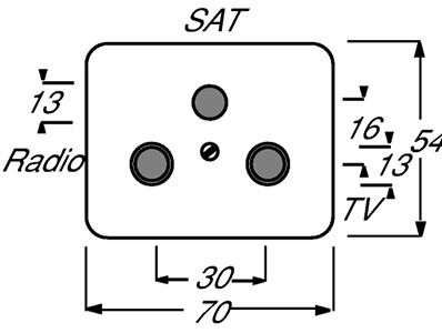 Накладка для TV-R-SAT розетки alpha nea платина ABB 1724-0-2747 купить в интернет-магазине RS24