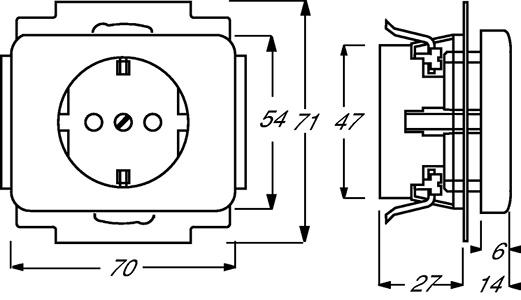 Розетка Schuko Alpha nea 16А 250В защ. шторки платина ABB 2013-0-4458 купить в интернет-магазине RS24
