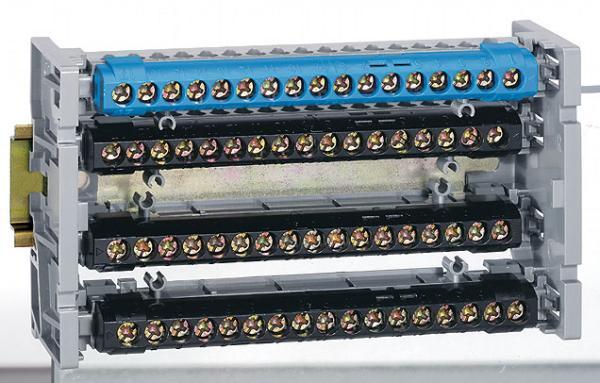Lexic elosztókapocs-tartó sínre szerelhető