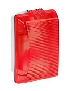 Plexo szögletes hajólámpa E27, 75W, IP55 piros bura