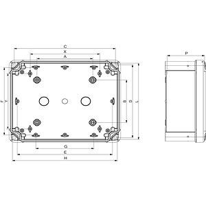 Ipari kötődoboz (164*121*87) IP65, ABS, teli tetővel