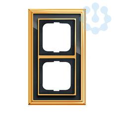 Рамка 2-м Династия Латунь полированная стекло черн. ABB 1754-0-4566 купить в интернет-магазине RS24