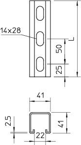 Рейка монтажная 300х41х41 MS 41 L 300 FT OBO 1122517 купить в интернет-магазине RS24