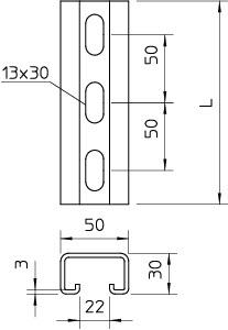 Рейка монтажная 300х50х50 DIN EN ISO 1461 OBO 1121243 купить в интернет-магазине RS24